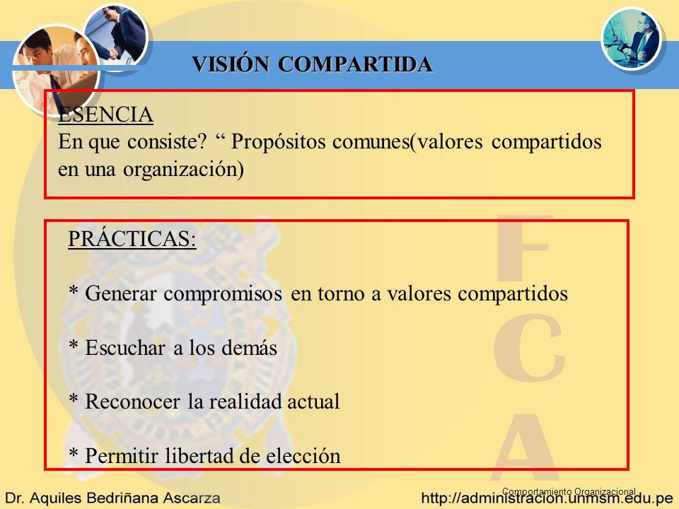 * Generar compromisos en torno a valores compartidos