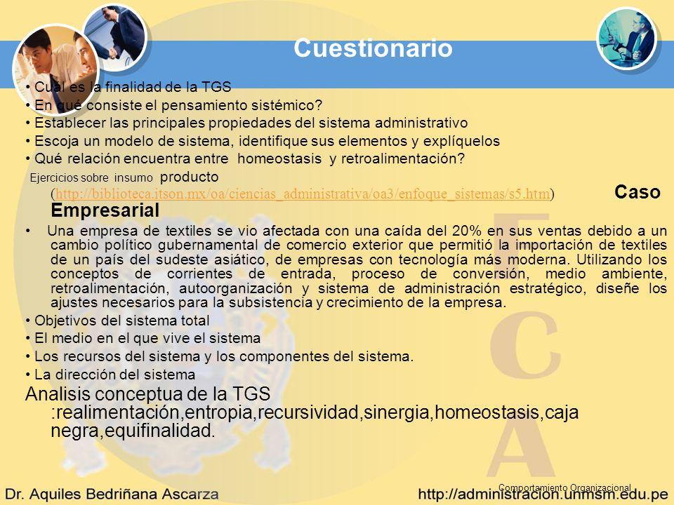 Cuestionario • Cuál es la finalidad de la TGS. • En qué consiste el pensamiento sistémico