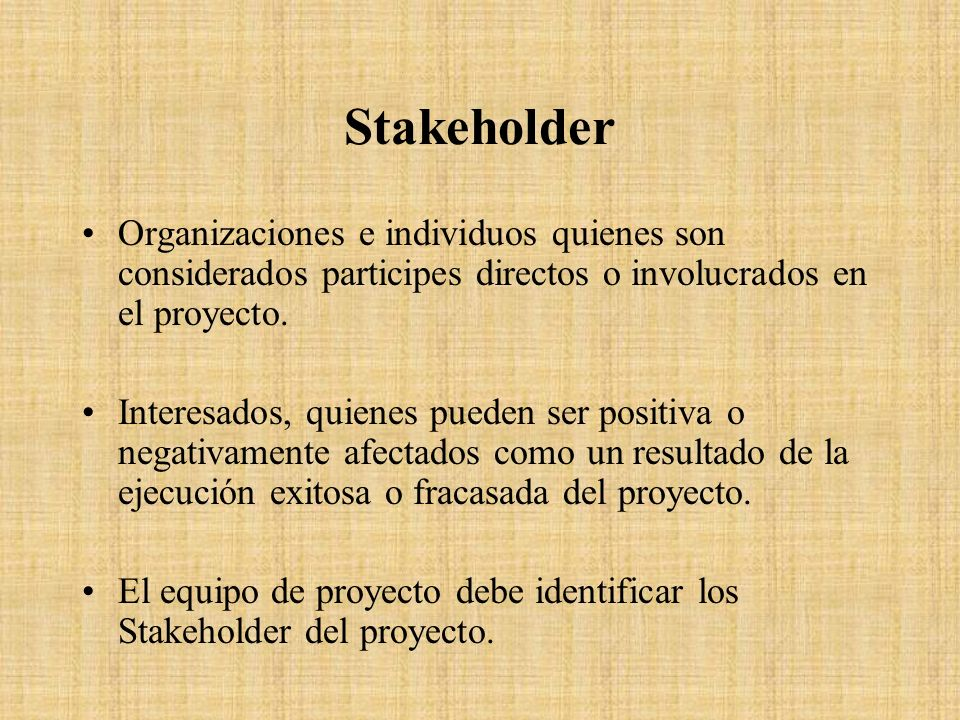 Stakeholder Organizaciones e individuos quienes son considerados participes directos o involucrados en el proyecto.