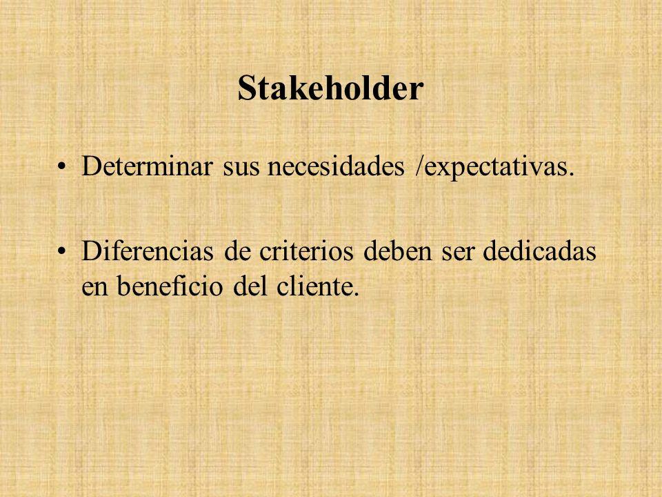 Stakeholder Determinar sus necesidades /expectativas.