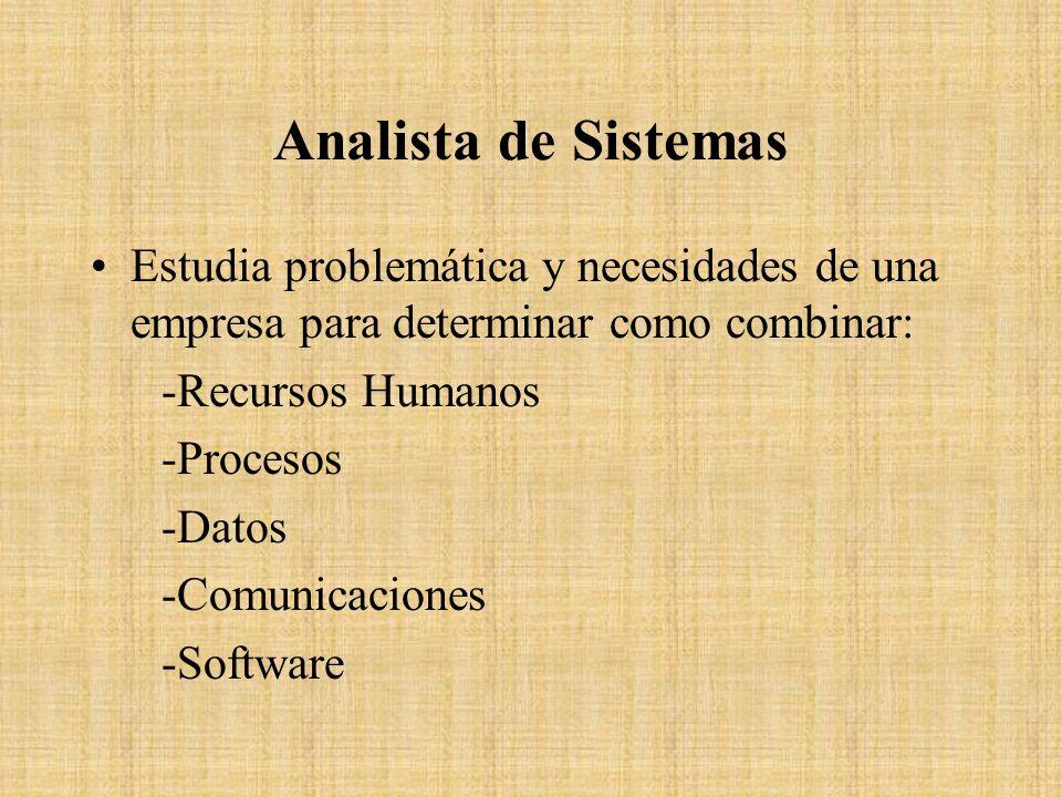 Analista de Sistemas Estudia problemática y necesidades de una empresa para determinar como combinar: