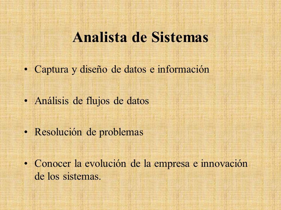 Analista de Sistemas Captura y diseño de datos e información