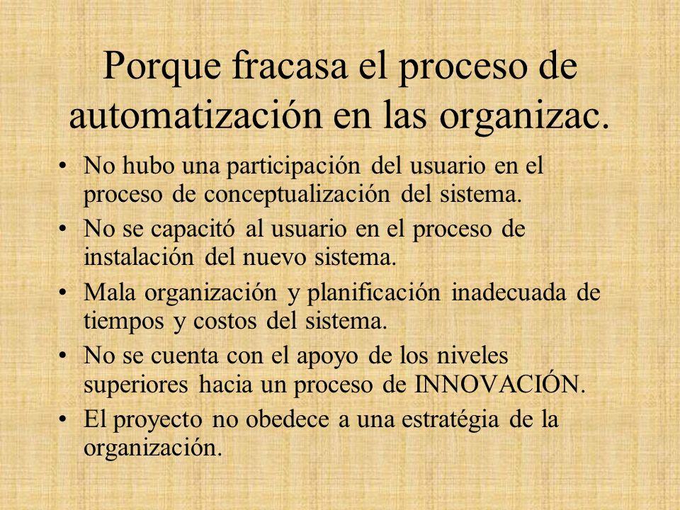 Porque fracasa el proceso de automatización en las organizac.