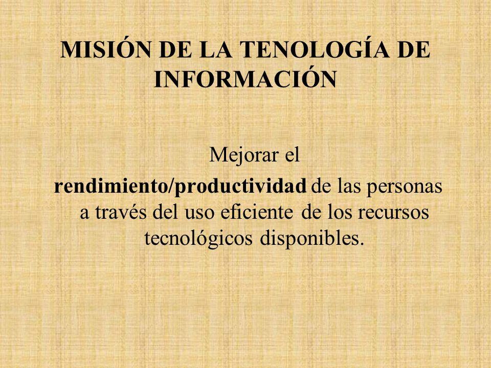 MISIÓN DE LA TENOLOGÍA DE INFORMACIÓN