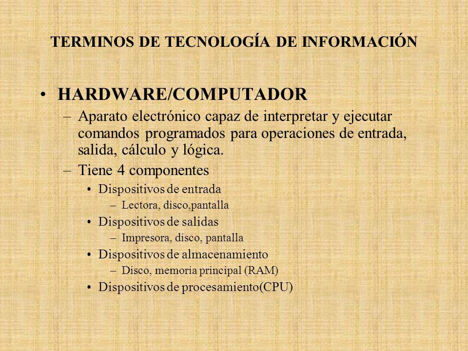 TERMINOS DE TECNOLOGÍA DE INFORMACIÓN