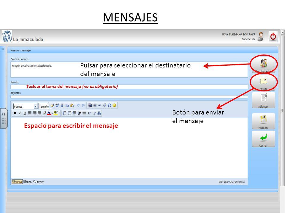 MENSAJES Pulsar para seleccionar el destinatario del mensaje