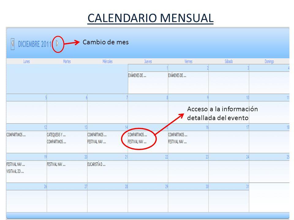 CALENDARIO MENSUAL Cambio de mes