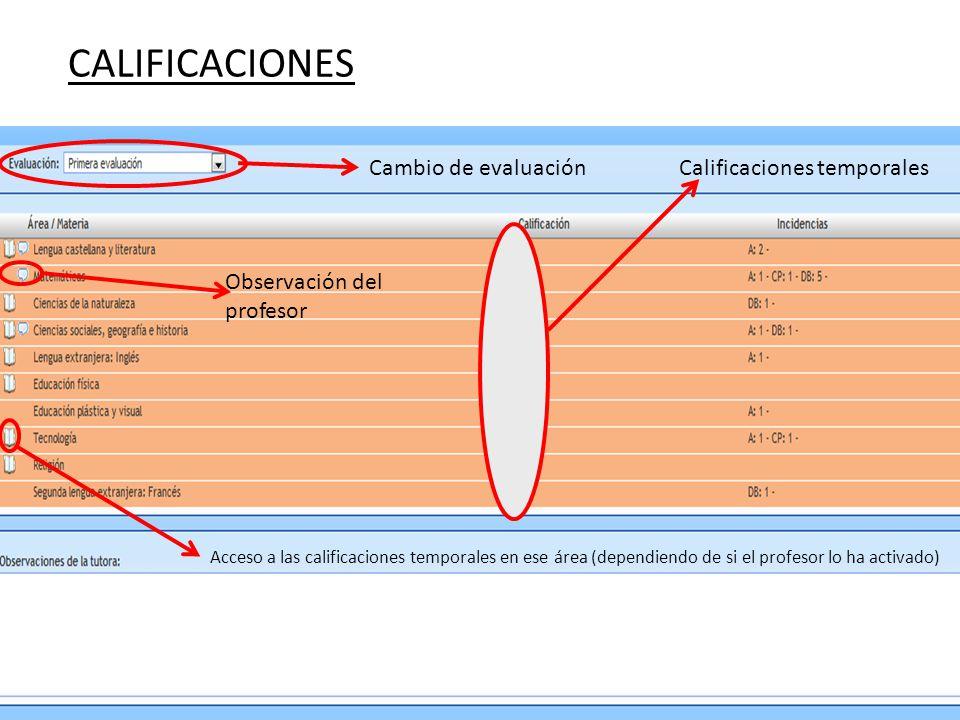 CALIFICACIONES Cambio de evaluación Calificaciones temporales