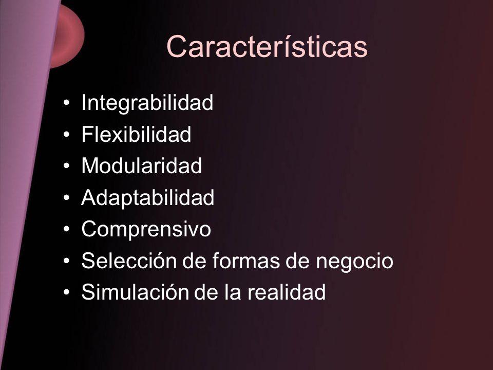 Características Integrabilidad Flexibilidad Modularidad Adaptabilidad