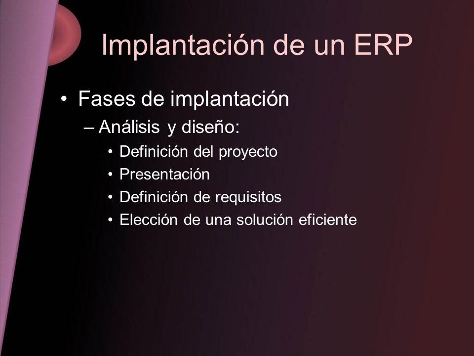 Implantación de un ERP Fases de implantación Análisis y diseño: