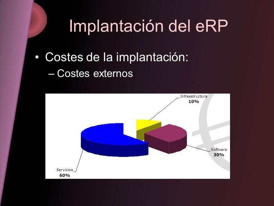 Implantación del eRP Costes de la implantación: Costes externos