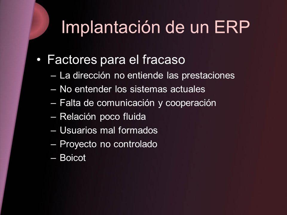 Implantación de un ERP Factores para el fracaso