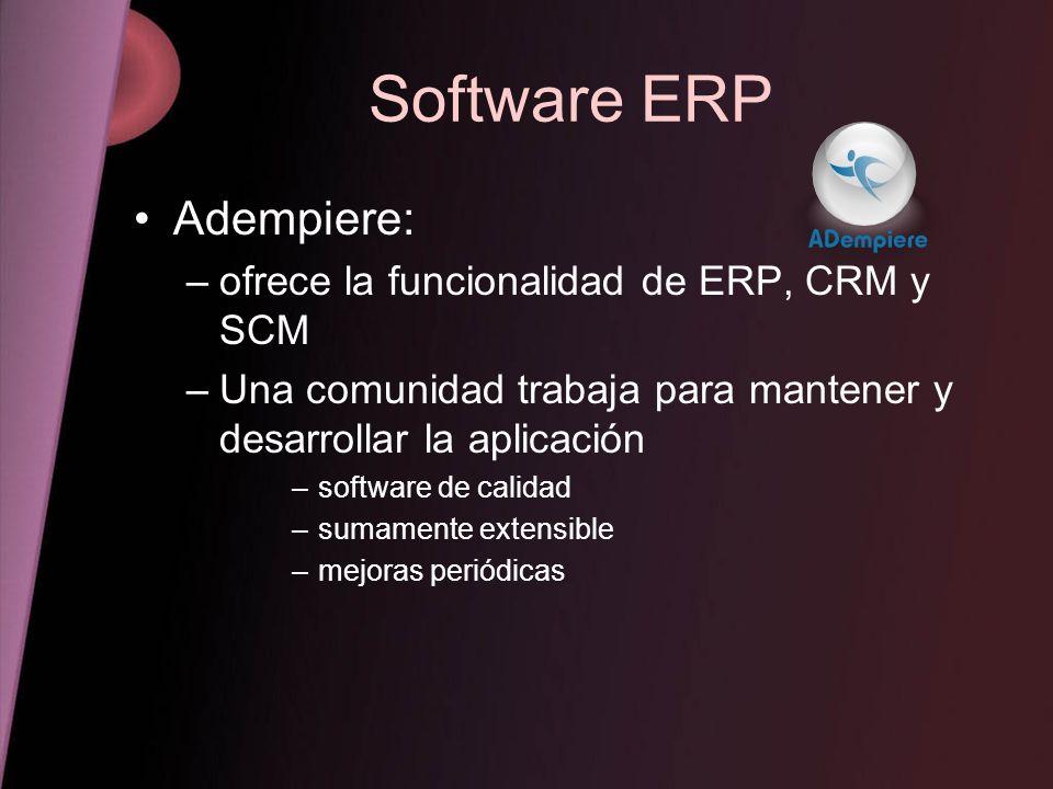 Software ERP Adempiere: ofrece la funcionalidad de ERP, CRM y SCM