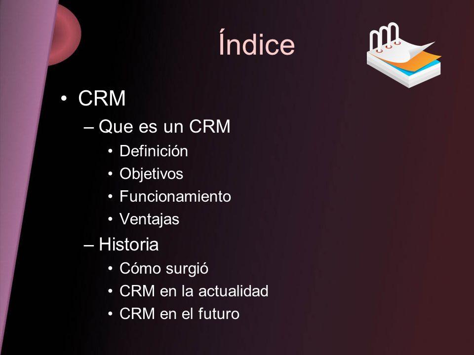 Índice CRM Que es un CRM Historia Definición Objetivos Funcionamiento