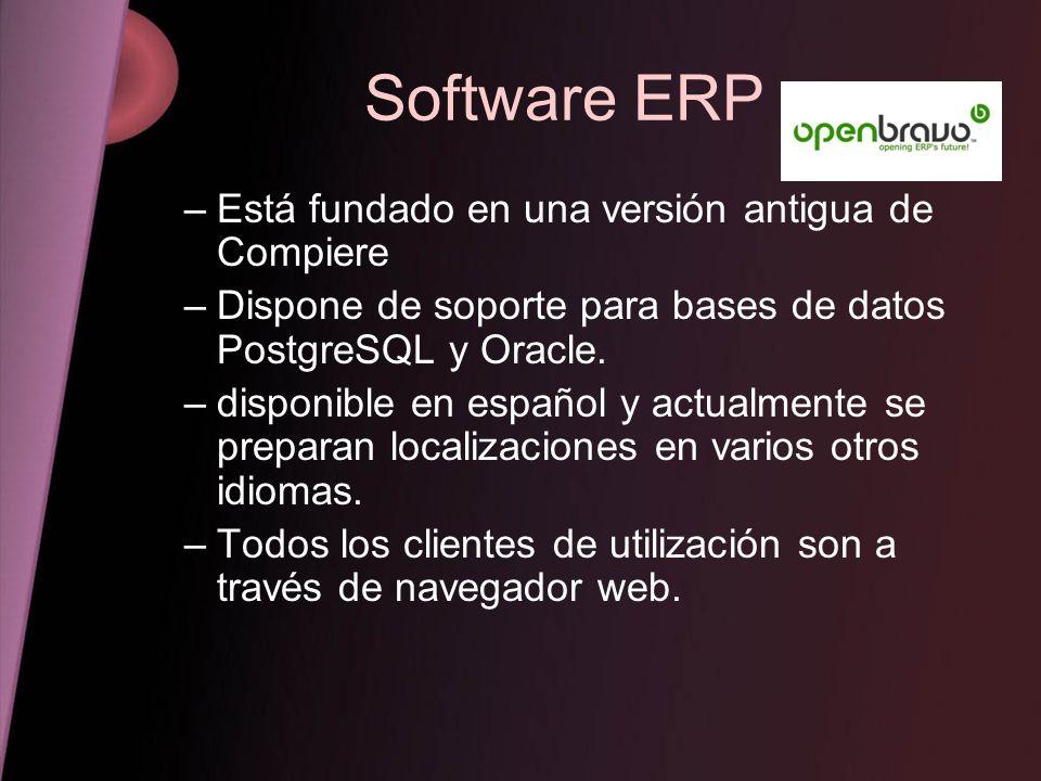 Software ERP Está fundado en una versión antigua de Compiere