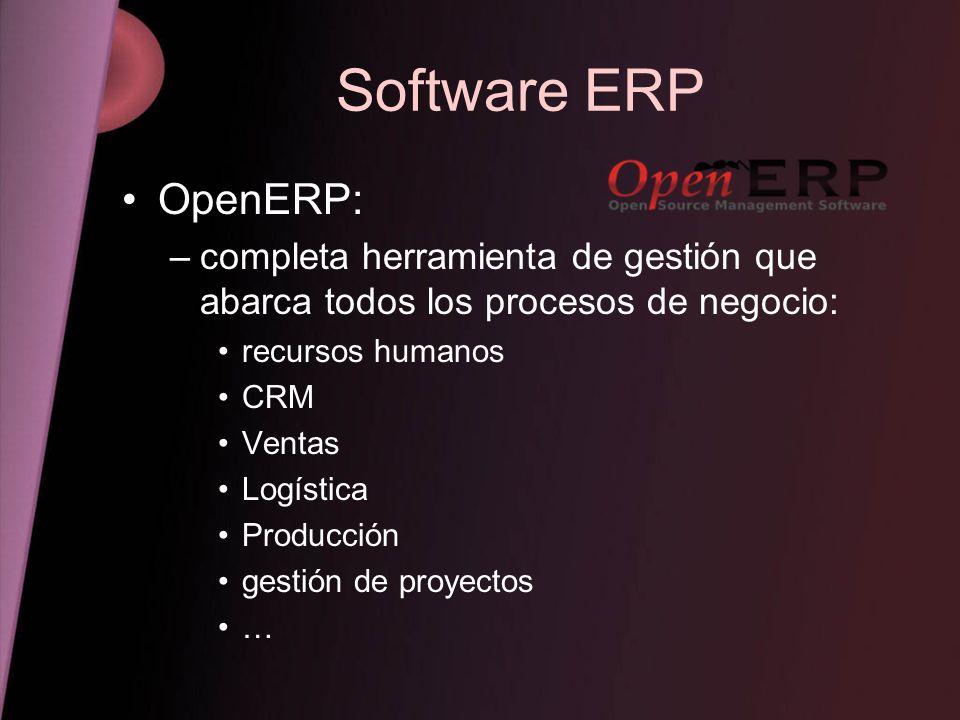 Software ERP OpenERP: completa herramienta de gestión que abarca todos los procesos de negocio: recursos humanos.