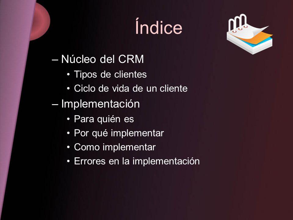 Índice Núcleo del CRM Implementación Tipos de clientes