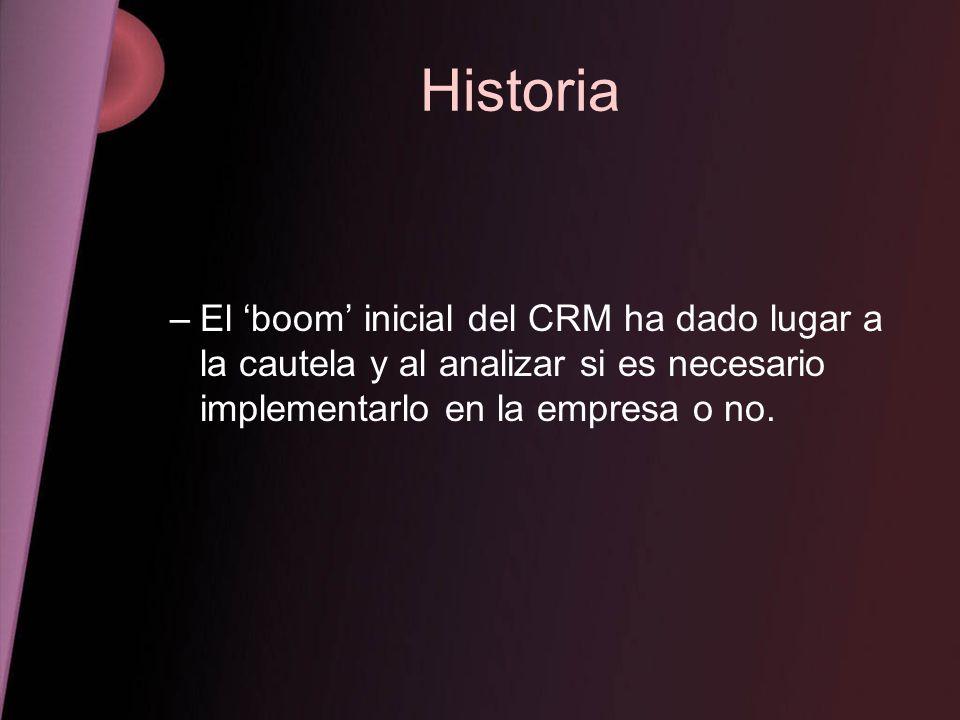 Historia El 'boom' inicial del CRM ha dado lugar a la cautela y al analizar si es necesario implementarlo en la empresa o no.