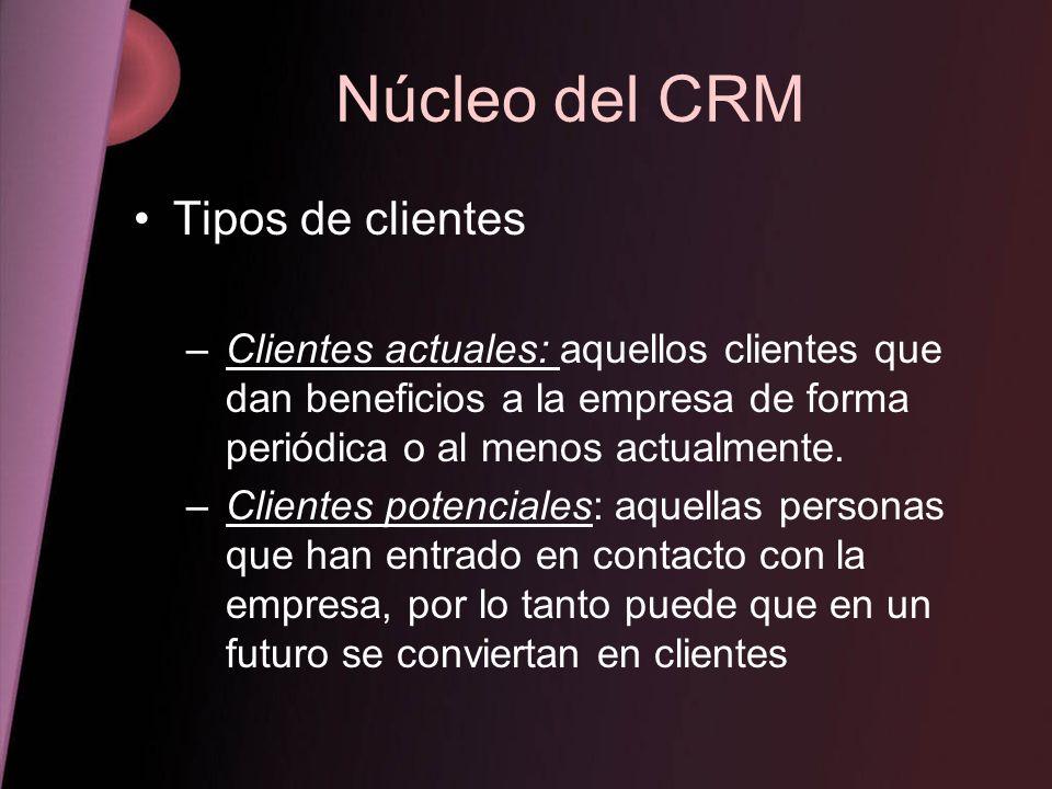 Núcleo del CRM Tipos de clientes