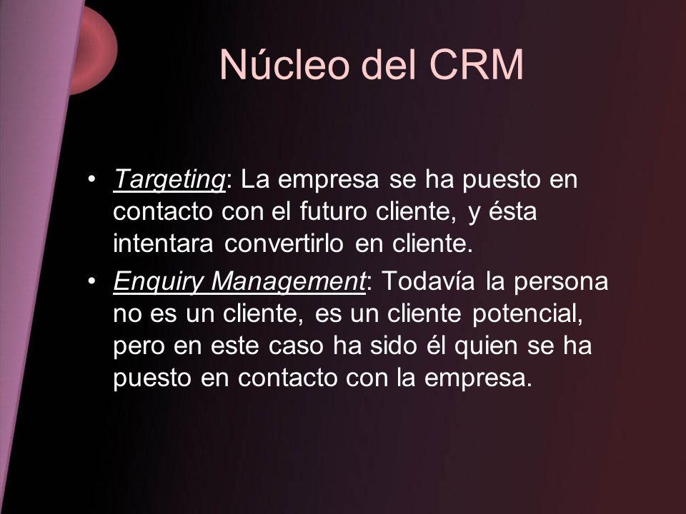 Núcleo del CRM Targeting: La empresa se ha puesto en contacto con el futuro cliente, y ésta intentara convertirlo en cliente.