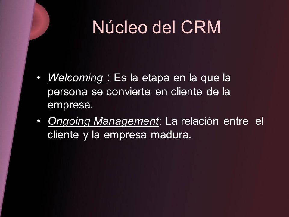 Núcleo del CRM Welcoming : Es la etapa en la que la persona se convierte en cliente de la empresa.