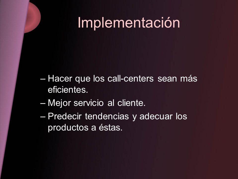 Implementación Hacer que los call-centers sean más eficientes.