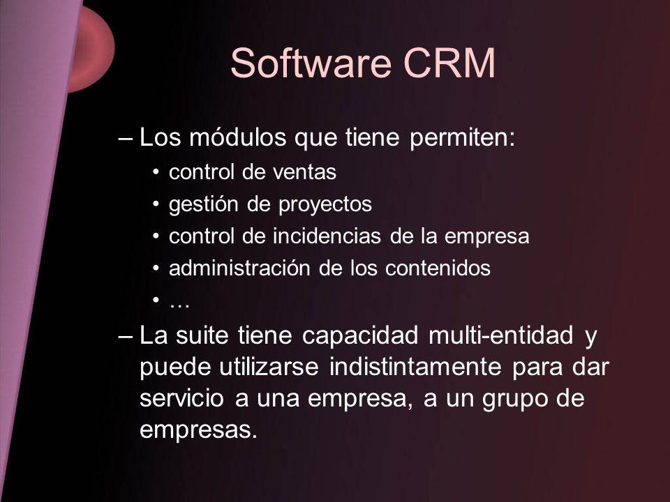 Software CRM Los módulos que tiene permiten: