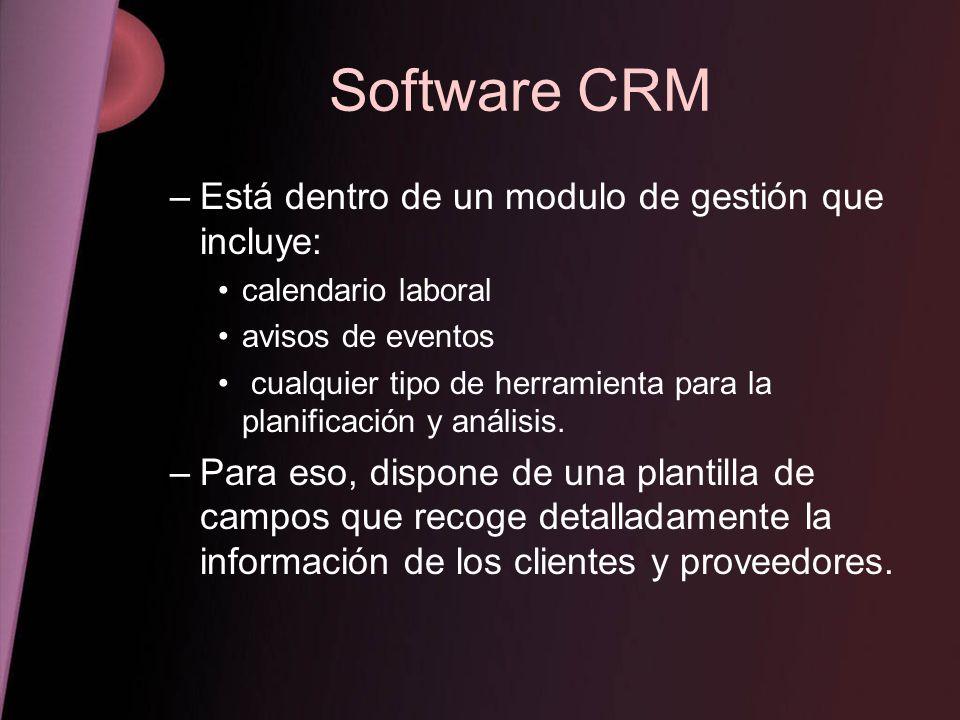 Software CRM Está dentro de un modulo de gestión que incluye: