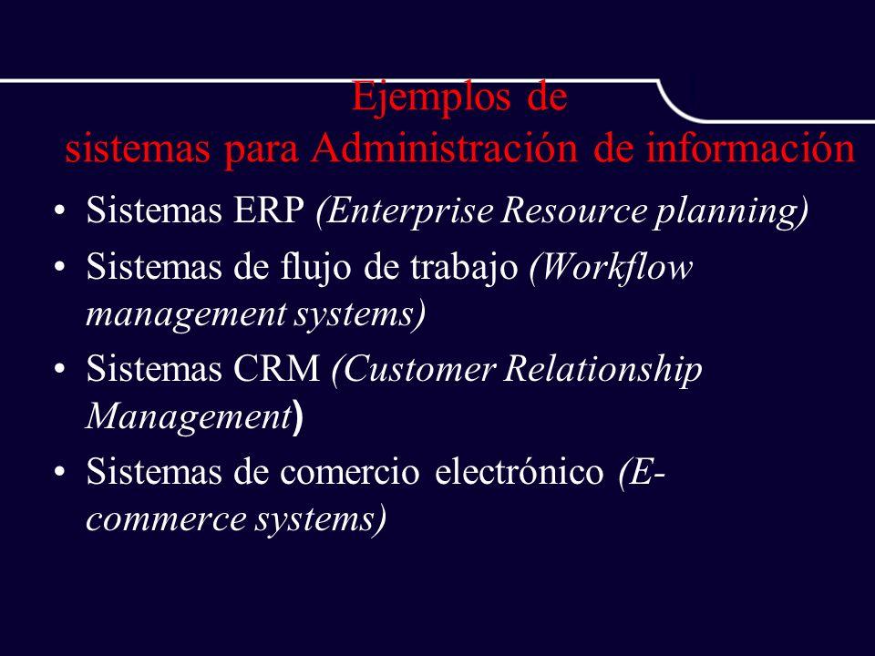 Ejemplos de sistemas para Administración de información