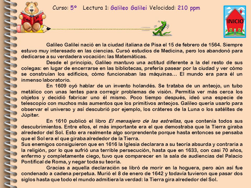 Curso: 5º Lectura 1: Galileo Galilei Velocidad: 210 ppm