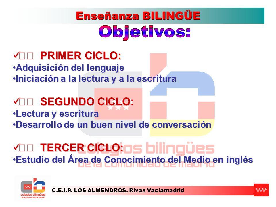Objetivos: Enseñanza BILINGÜE •• PRIMER CICLO: •• SEGUNDO CICLO: