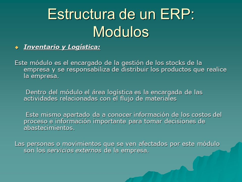 Estructura de un ERP: Modulos