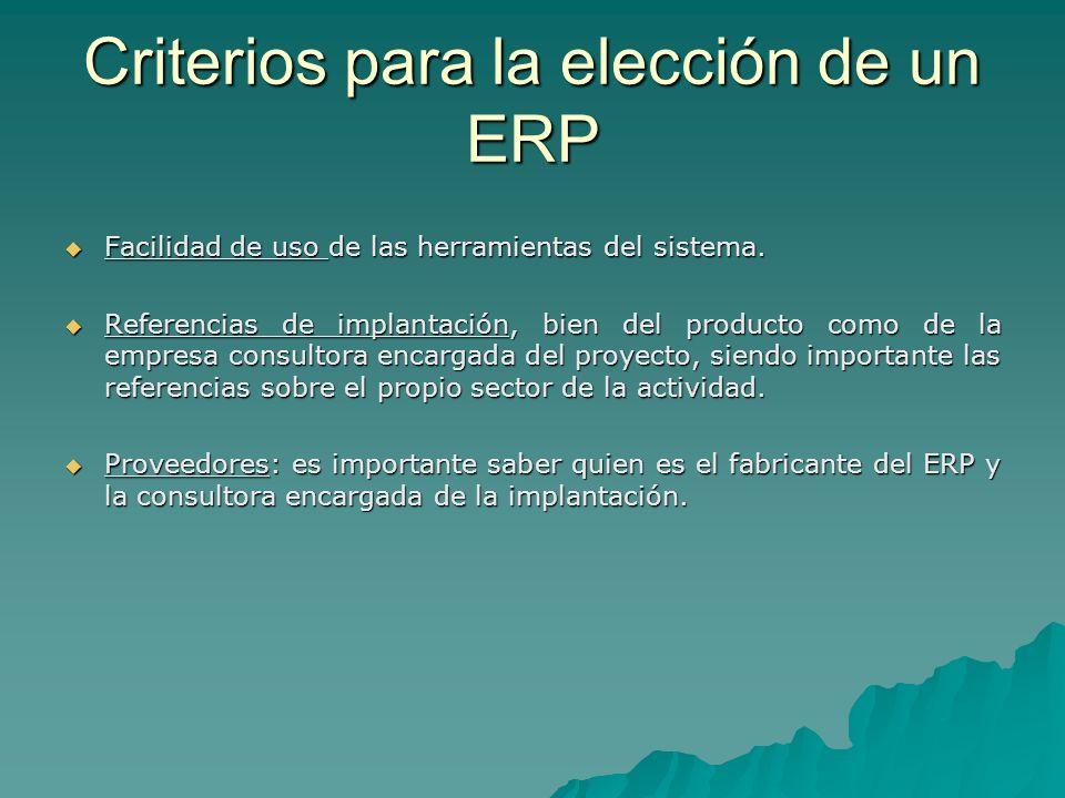 Criterios para la elección de un ERP