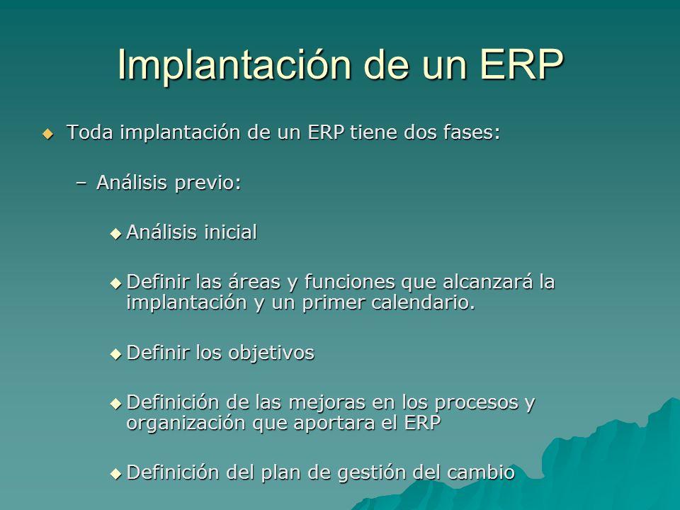 Implantación de un ERP Toda implantación de un ERP tiene dos fases: