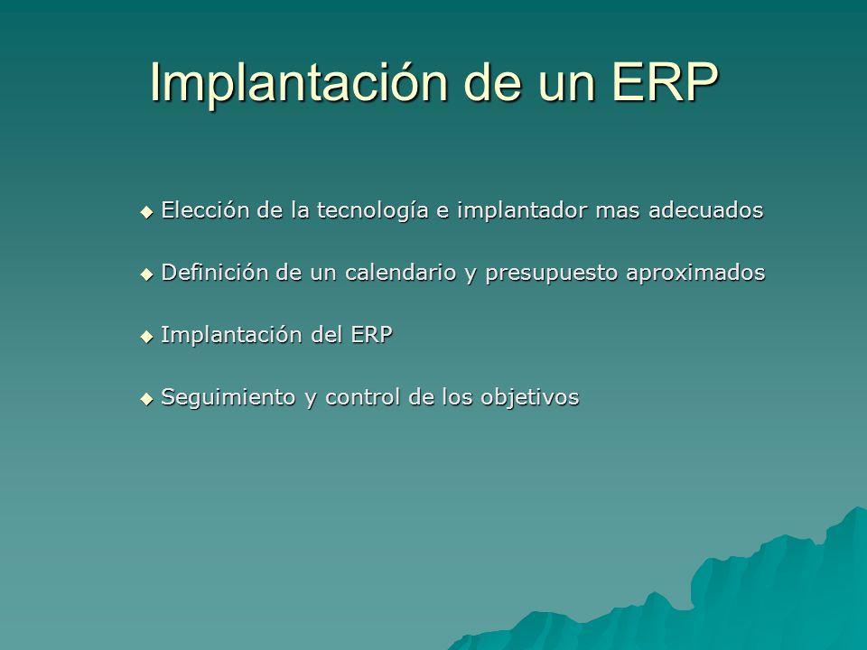 Implantación de un ERPElección de la tecnología e implantador mas adecuados. Definición de un calendario y presupuesto aproximados.