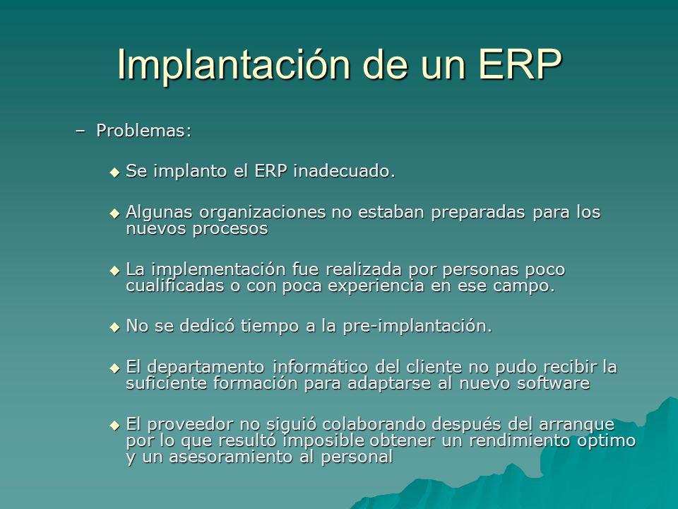 Implantación de un ERP Problemas: Se implanto el ERP inadecuado.