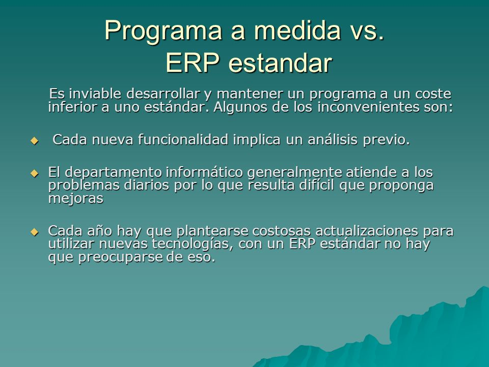 Programa a medida vs. ERP estandar