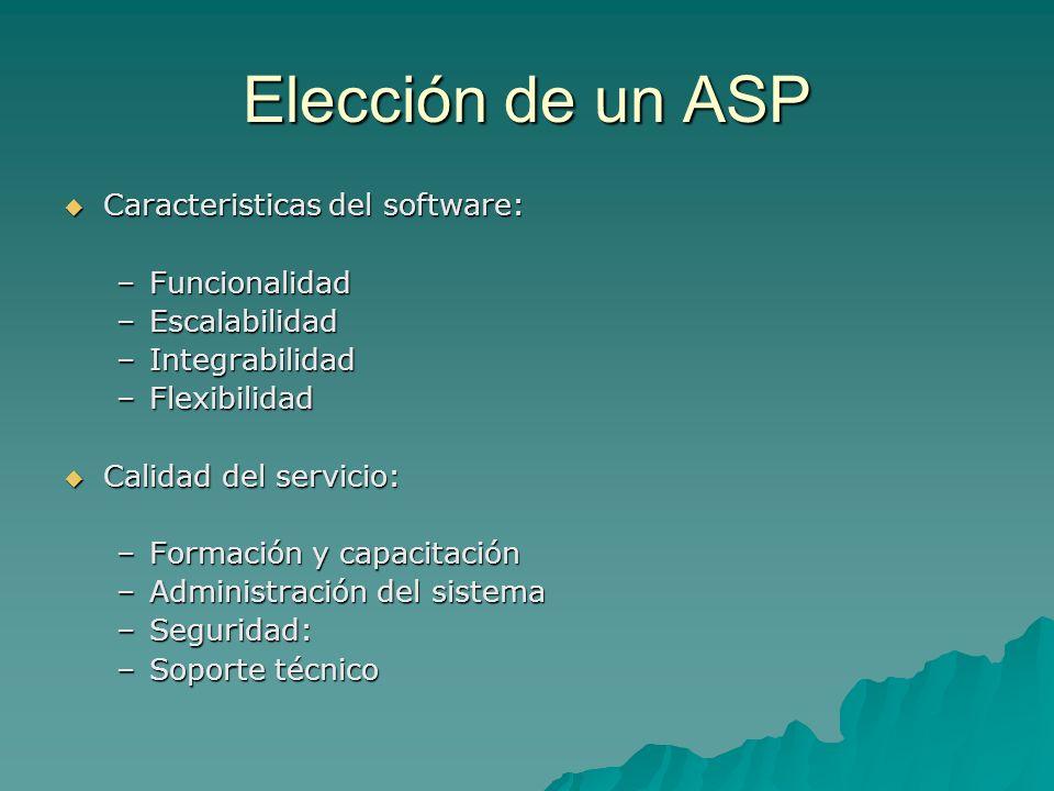 Elección de un ASP Caracteristicas del software: Funcionalidad
