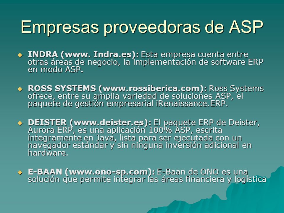 Empresas proveedoras de ASP