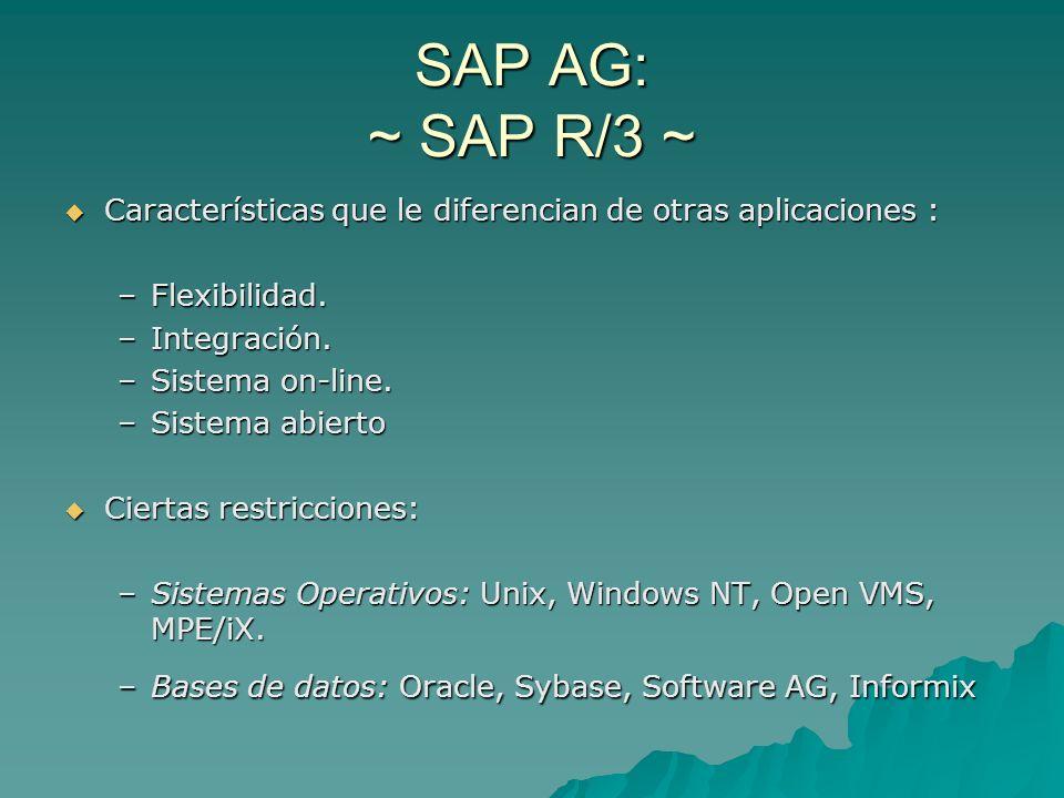 SAP AG: ~ SAP R/3 ~ Características que le diferencian de otras aplicaciones : Flexibilidad. Integración.
