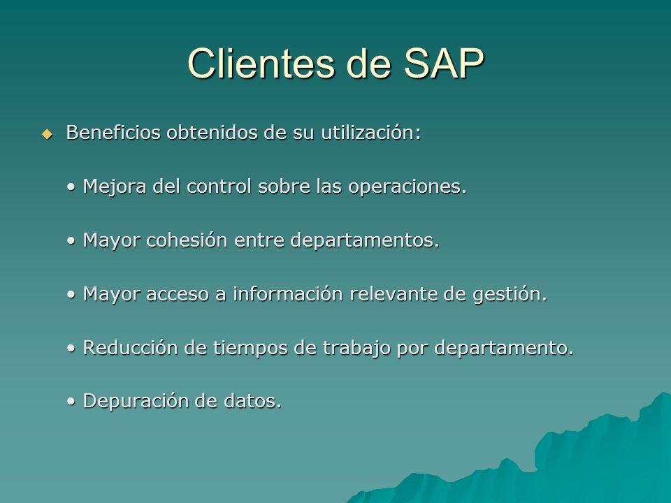 Clientes de SAP Beneficios obtenidos de su utilización: