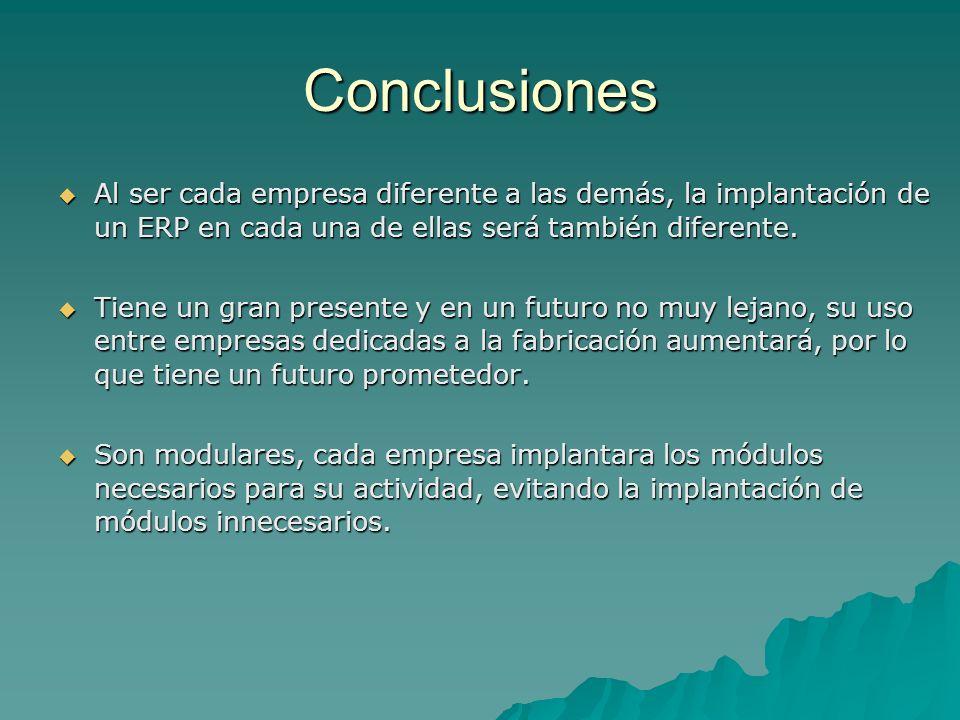 ConclusionesAl ser cada empresa diferente a las demás, la implantación de un ERP en cada una de ellas será también diferente.