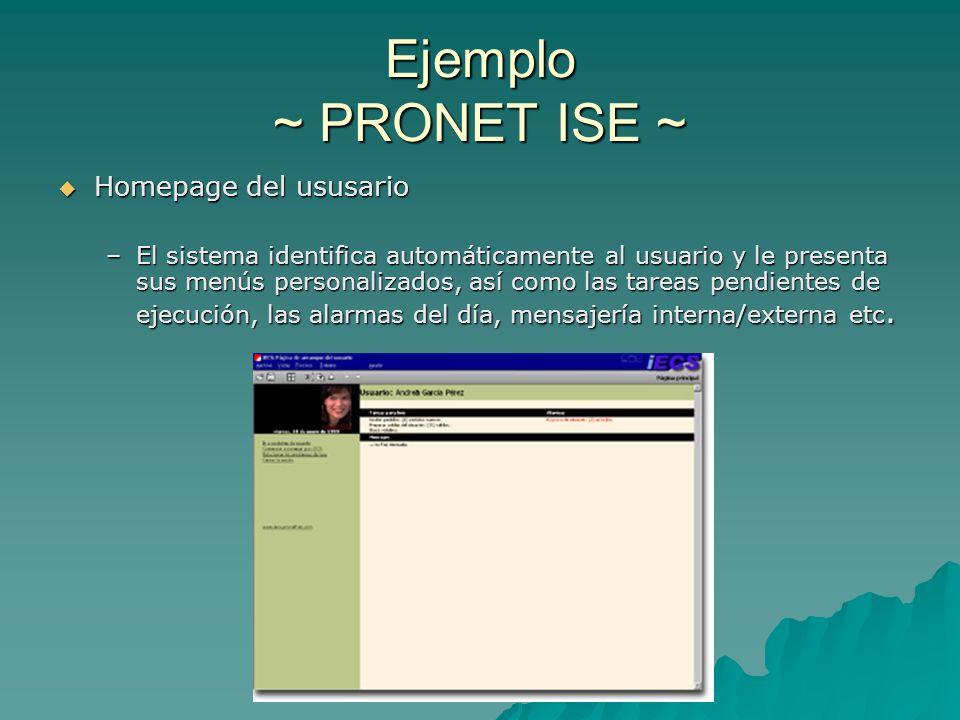 Ejemplo ~ PRONET ISE ~ Homepage del ususario