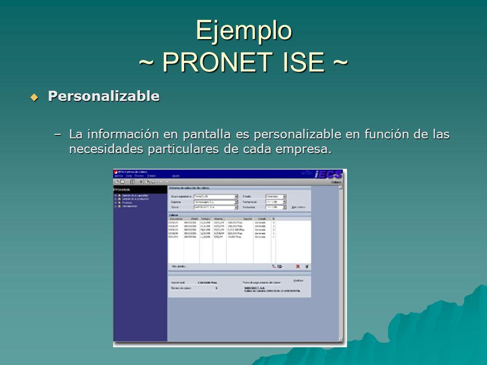 Ejemplo ~ PRONET ISE ~ Personalizable