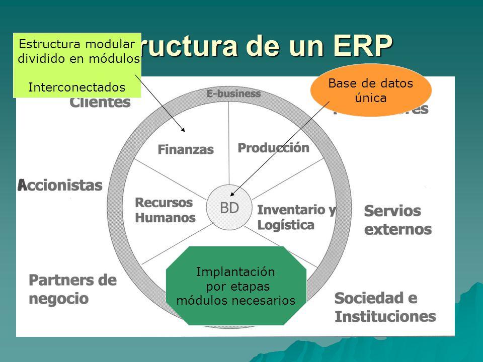 Estructura de un ERP Estructura modular dividido en módulos