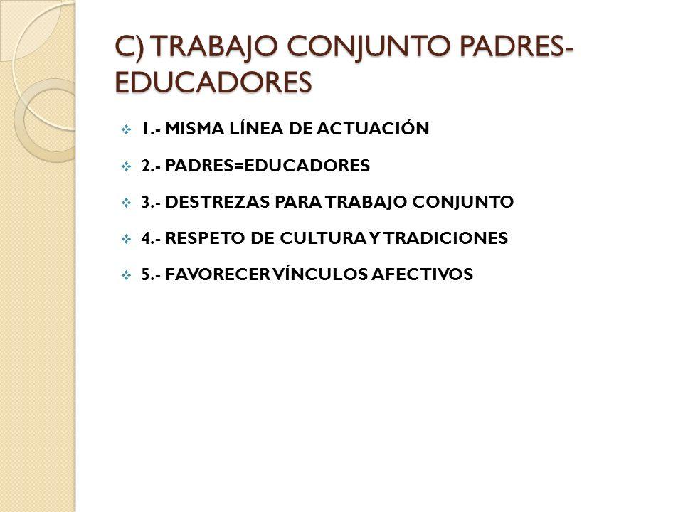C) TRABAJO CONJUNTO PADRES-EDUCADORES