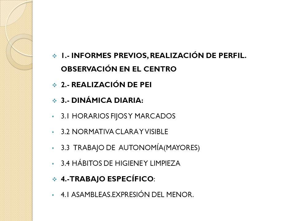 1.- INFORMES PREVIOS, REALIZACIÓN DE PERFIL. OBSERVACIÓN EN EL CENTRO