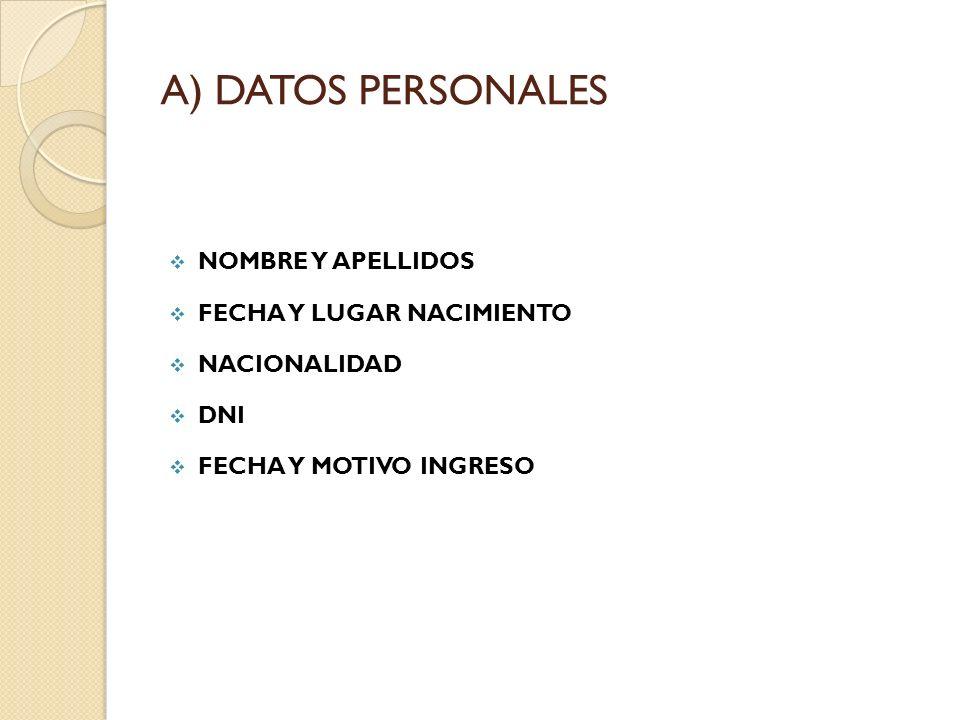 A) DATOS PERSONALES NOMBRE Y APELLIDOS FECHA Y LUGAR NACIMIENTO