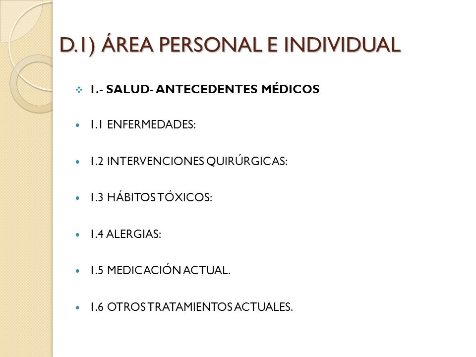 D.1) ÁREA PERSONAL E INDIVIDUAL