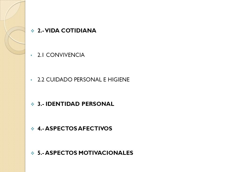 2.- VIDA COTIDIANA 2.1 Convivencia. 2.2 Cuidado personal e higiene. 3.- IDENTIDAD PERSONAL. 4.- ASPECTOS AFECTIVOS.